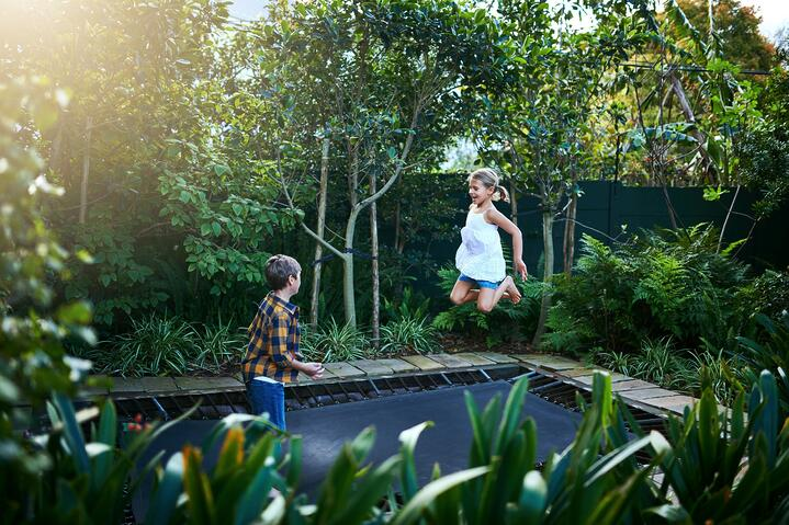 Resize Kids on Trampoline